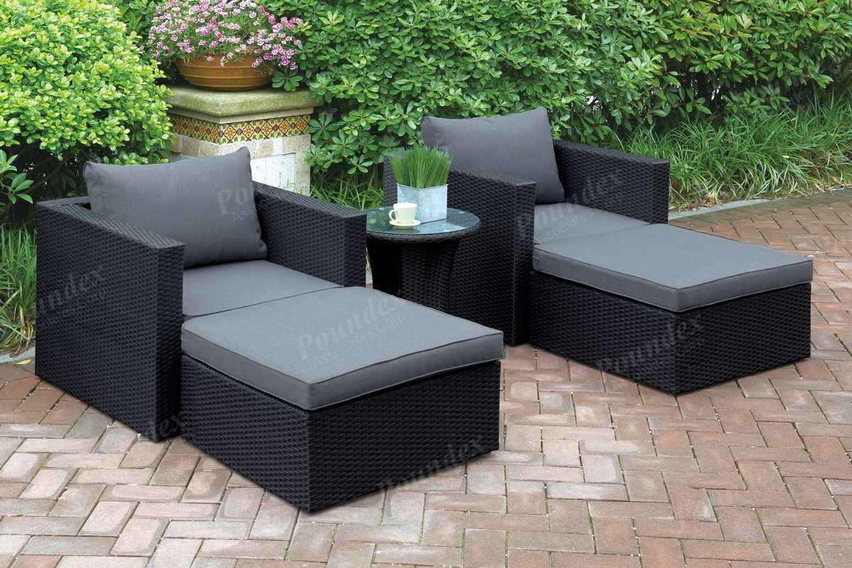 lizkona outdoor patio 5 pcs lounge sofa set by poundex. Black Bedroom Furniture Sets. Home Design Ideas