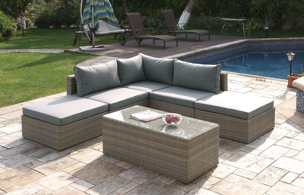Lizkona Outdoor Patio 6 Pcs Tan Sectional Sofa Set By Poundex | Tan Outdoor  Furniture ...