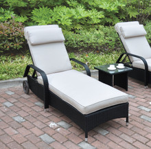 Adjustable Patio Lounger Chair by Poundex | Dark Brown Lounger Frame