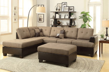 Tan Sectional | 3-Pcs Sectional Sofa Set with Ottoman By Poundex