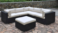 Outdoor Patio 6-Pcs Cream Sectional Set with Ottoman | Outdoor Patio Set
