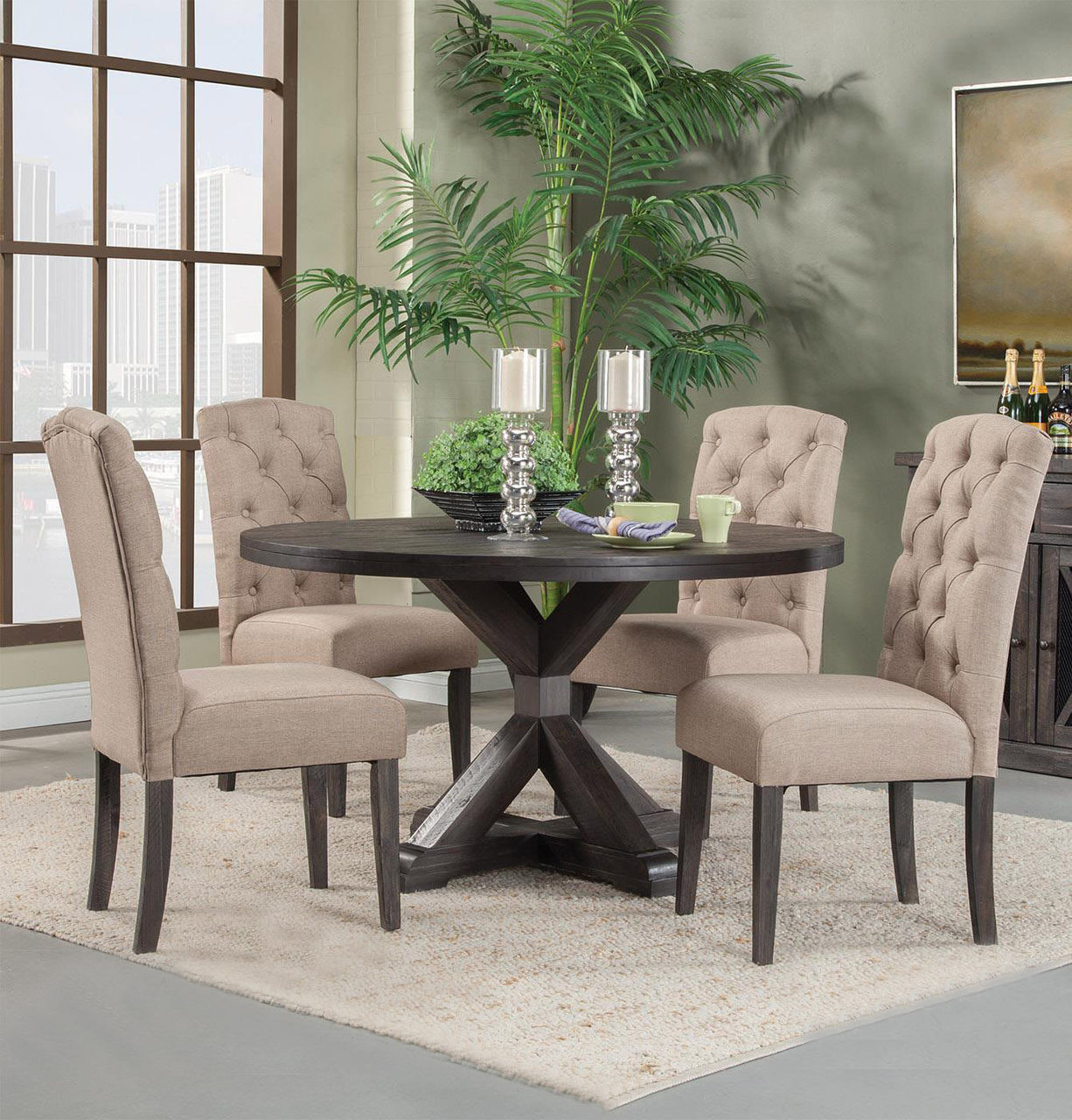 "Round Breakfast Table Set: Alpine Newberry 54"" Round Dining Room Table Set In"