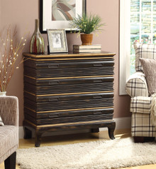 """32"""" Nelia Antique Gold Black Accent Chest with Drawers"""