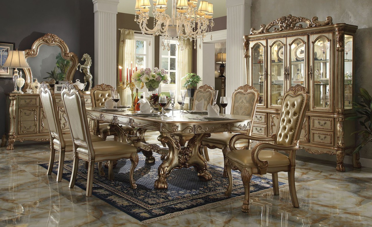 chateau de chambord gold patina 7pcs dining table set. Black Bedroom Furniture Sets. Home Design Ideas