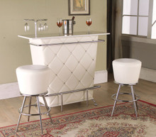 Chrome White Leatherette Bar Table With Stools | Designer Modern White Bar  Table With Stools