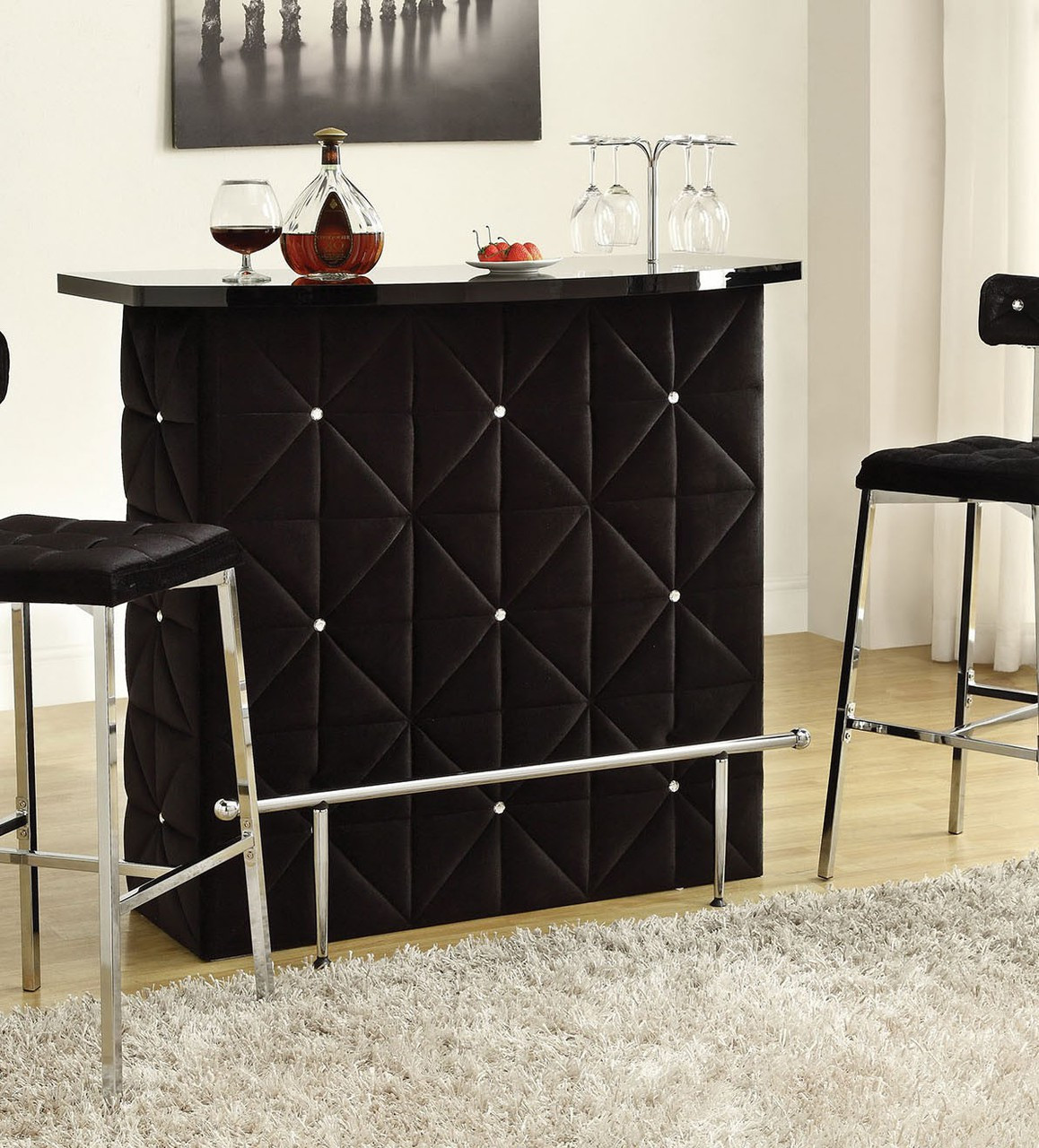 Black Bar Set: Doreen Chrome Black Velvet Bar Table With 2 Bar Stools