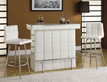 Rony Chrome White Leatherette Bar Table Set | Modern White Bar Table Set