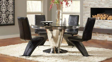 51 Quot Glam Round Black Glass Stainless Steel Table Set For Sale