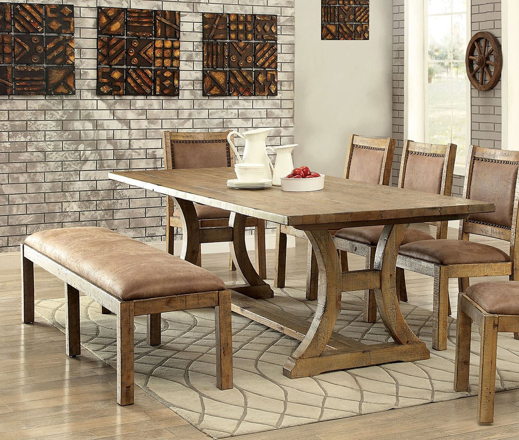 Furniture of America CM3829T Industrial Pine Dining Table Set | Comfortable Industrial Style Dining Set ... & Furniture of America CM3829T Industrial Pine Dining Table Set