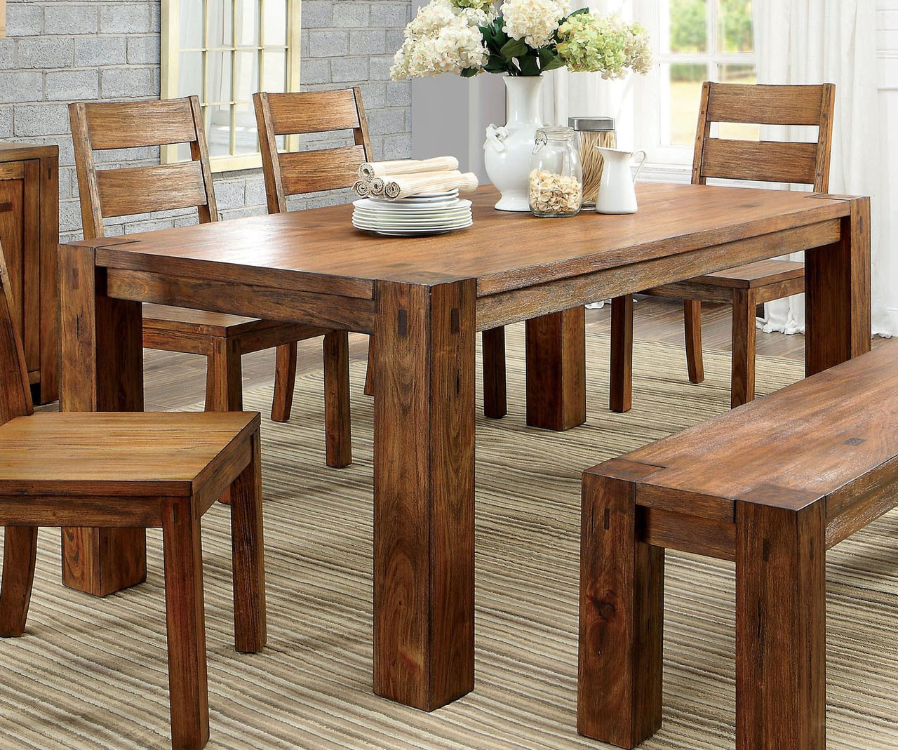 furniture of america cm3603t dark oak dining table set kitchen tables and chairs - Dark Oak Dining Table