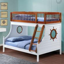 Farah Nautical White Oak Twin over Full Bunk Bed