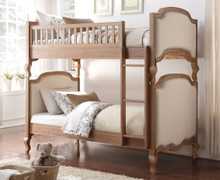Hunter Salvaged Oak Cream Fabric Twin Bunk with Ladder