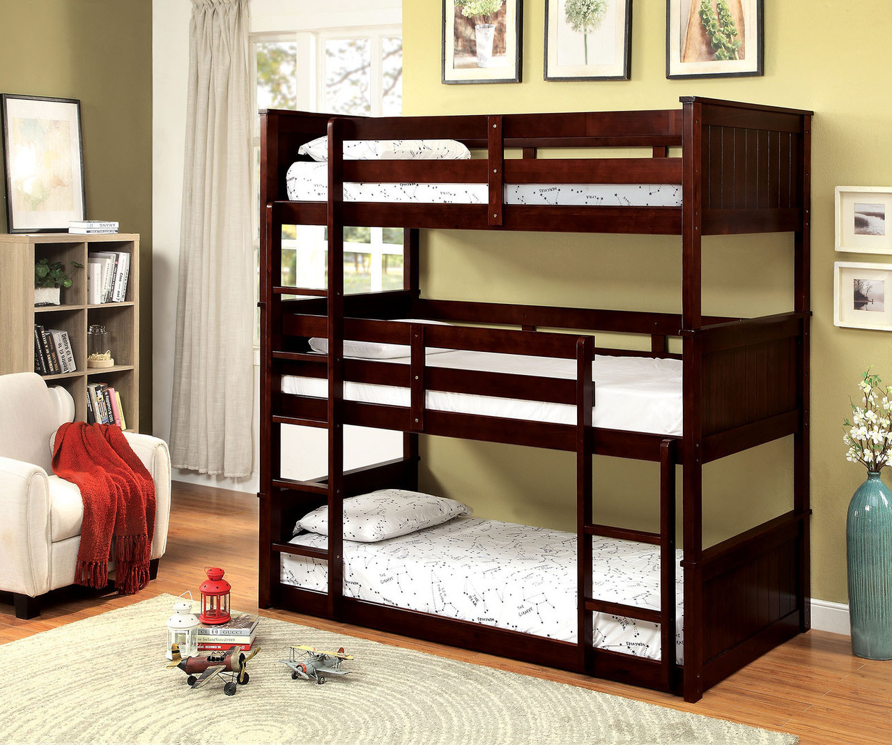 Stacked Triple Twin Bunk Bed In Espresso Finish Bunk