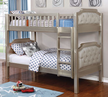 Beatrice Champagne Light Gray Convertible Twin Bunk Bed