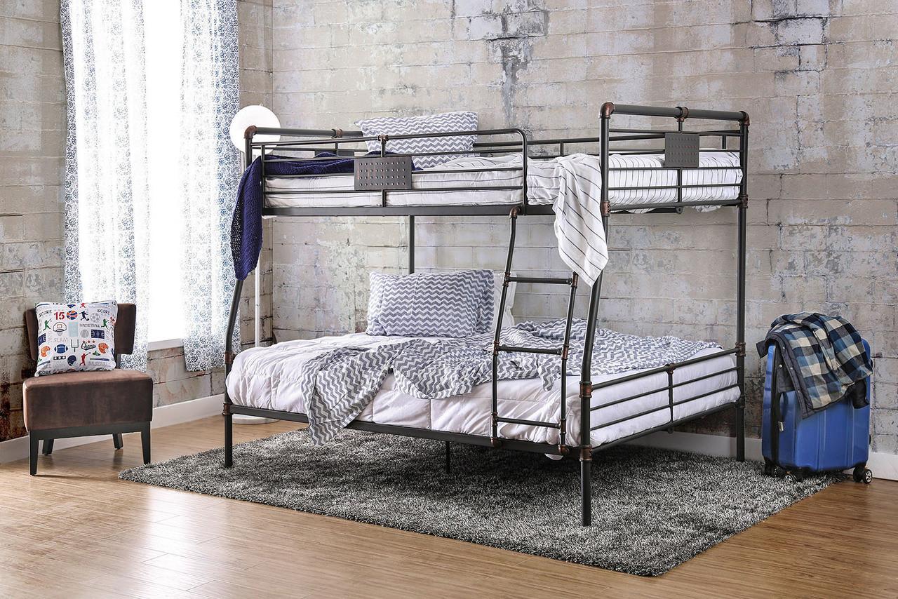 Queen Beds Metal Wood And Metal Bunk Bed Queen Over Queen: Xavier Industrial Piping Metal XL Full Over Queen Bunk Bed