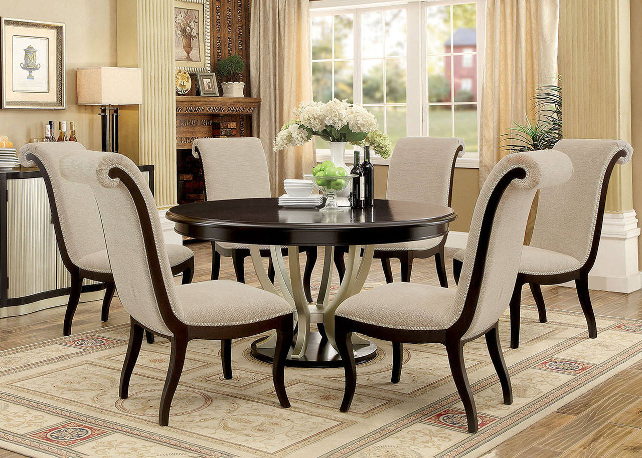 "60"" Abela Espresso Champagne Round Dining Table Set For 6"