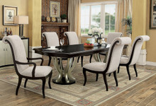 106 Abela Espresso Champagne Dining Table Set With Extension
