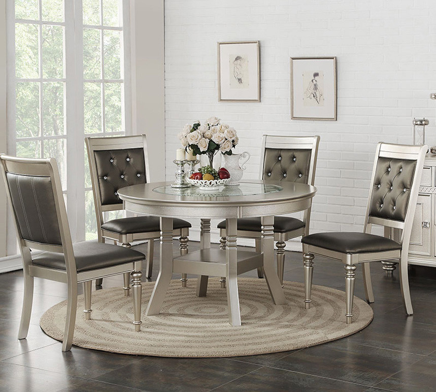 Stella Transitional Silver Round Dining Room Table With Chairs ...