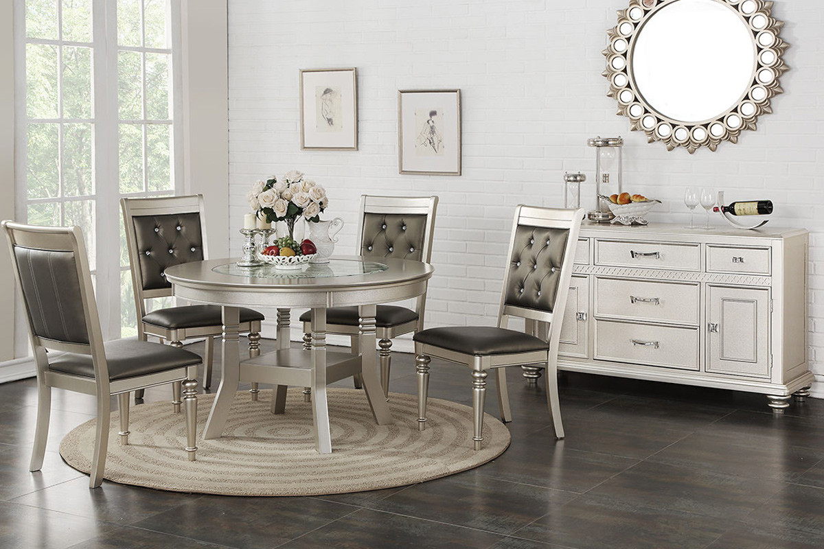 Stella transitional silver round dining room table with chairs table top view shown with optional sideboard