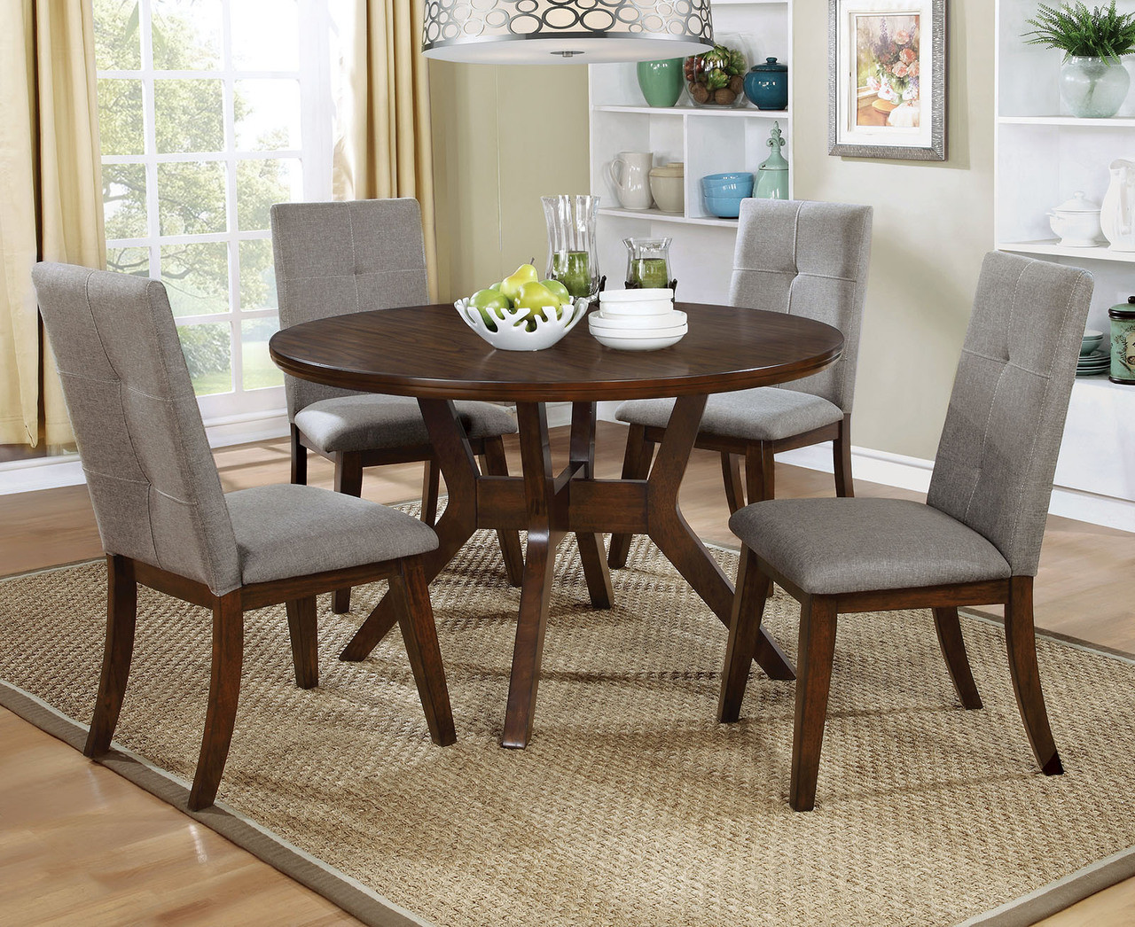 Furniture of America Walnut Round Dining Table Set CM3354RT