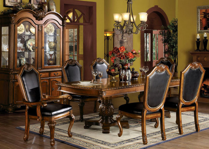 ACME Chateau De Ville Cherry 7 Pc Double Pedestal Dining Table Set | Formal  Traditional Cherry ...