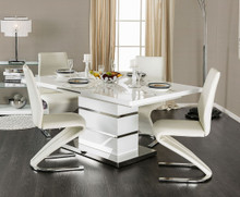 Furniture of America White Extending Dining Table with Four Chairs