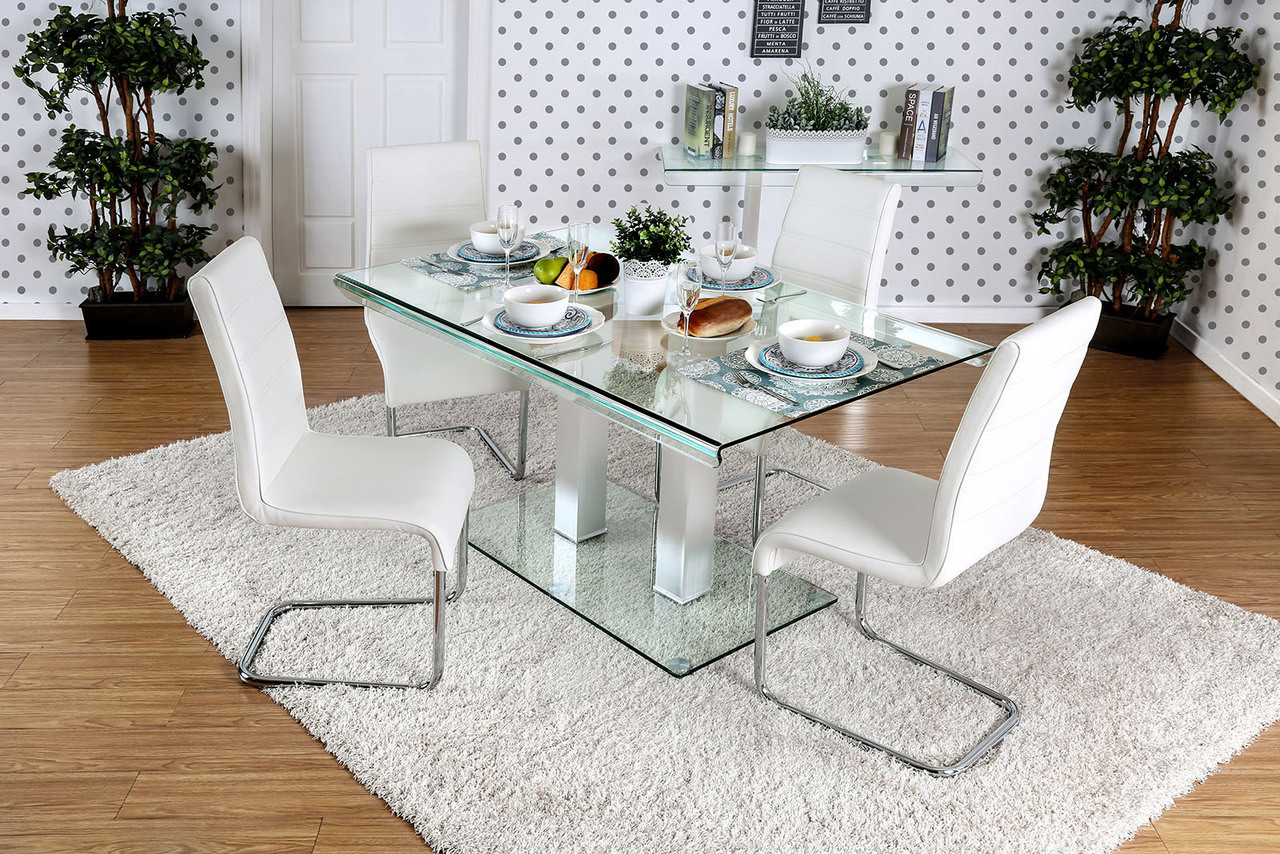 Furniture Of America Rectangular Glass Dining Table With