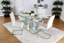 Furniture of America Rectangular Glass Top Dining Table with Four Chairs | Stylish Rectangular 59 Inch Glass Dining Set