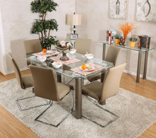 Walkerville CM3361T Rectangular Glass Dining Table with Six Chairs | Modern 59 Inch Rectangular Glass Dining Table
