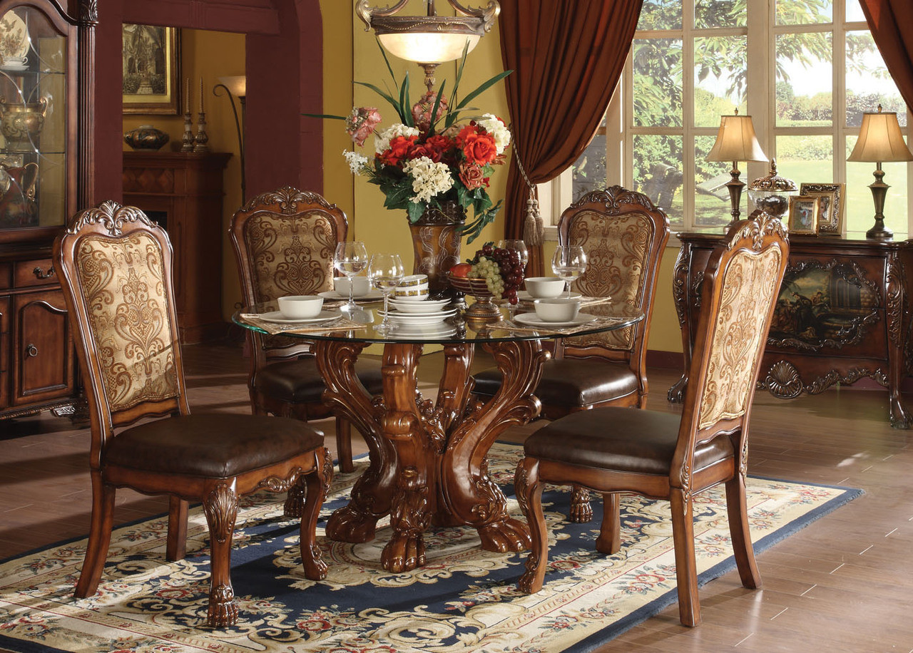 dresden 54   round glass cherry oak dining table set   luxurious 54 inch formal round dresden 54   round glass cherry oak dining table set   acme 60010  rh   efurniturehouse com