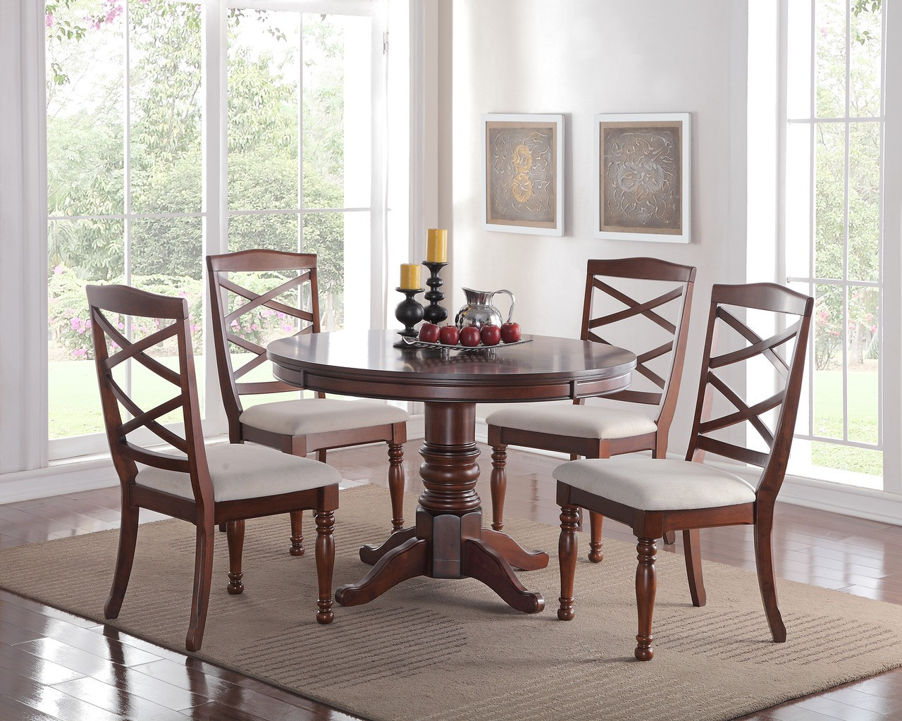 "Easton 48"" Dark Cherry Round Dining Room Table with Four ..."
