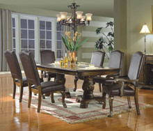 "Allen Park 91"" Brown Cherry Extendable 7 PC Dining Table Set"