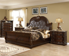 Amesville 4-Pc Brown Cherry Sleigh Bedroom Set | Sleigh Bedroom Set