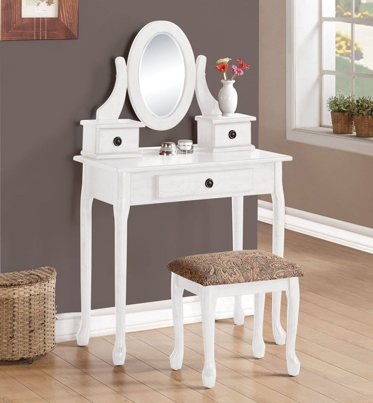 Alexandria White Makeup Table with Mirror and Bench & Alexandria White Makeup Vanity Table with Mirror and Bench