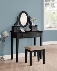 Austin Black Makeup Desk with Bench | Chic Black Makeup Desk with Drawers