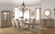 Chelmsford 9PC Antique Taupe Dining Table Set | Optional Buffet + Hutch