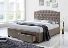 Cave Spring Tufted Mink Fabric Bed with Drawers | Elegant Platform Bed with Drawers