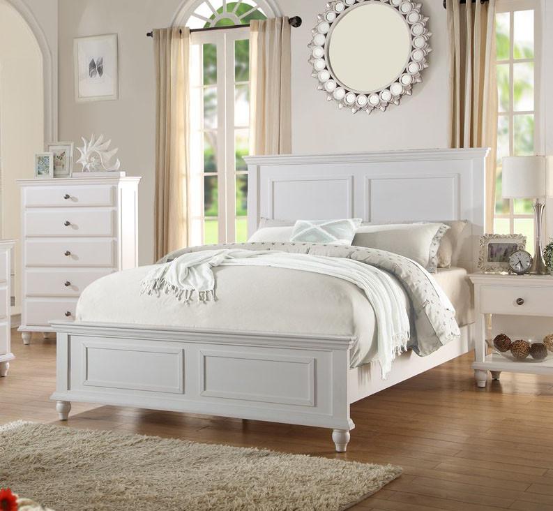 San Leon Coastal White Wood Panel Bed