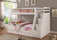 Bella Esprit Dakota Twin Full Bunk Bed with Steps | Space Saving Bunk Bed with Steps