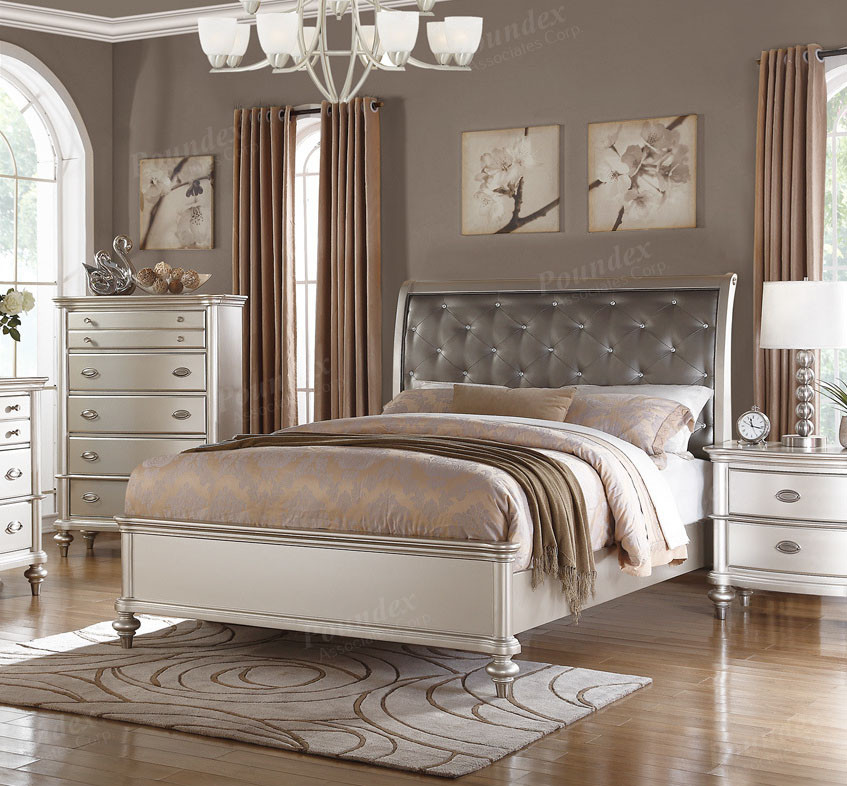Poundex F9317 Metallic Silver Tufted Bed | Transitional Style Bed In Queen    King ...
