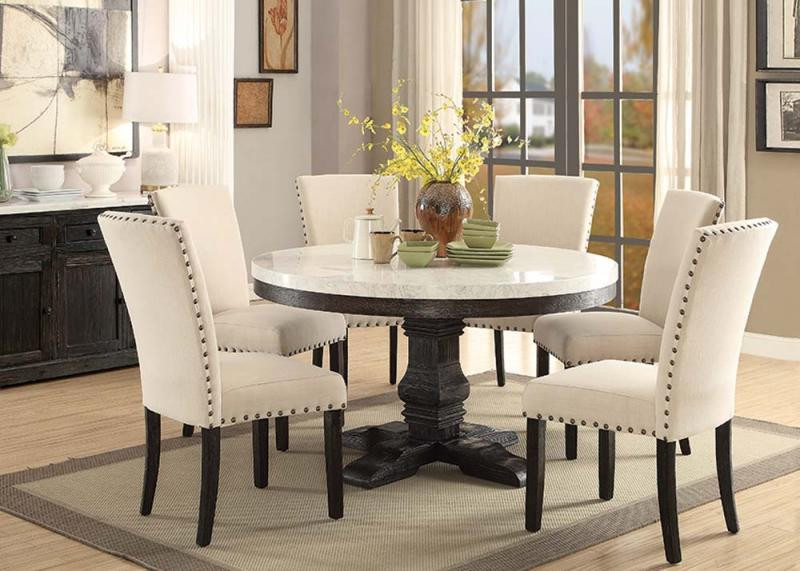 "54"" Nolan Round White Marble Top Dining Room Set"