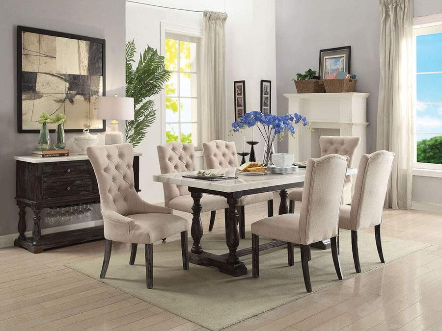 Etonnant Gerardo White Marble Top Dining Room Table With Six Chairs ...