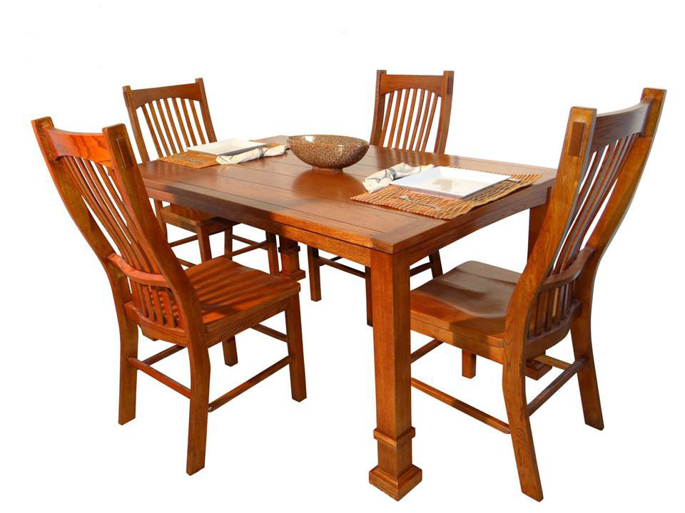 Arts And Crafts AF TA701 Solid Oak Frame Mission Dining Set