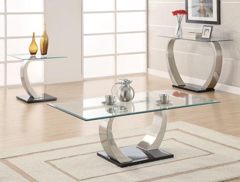 Eris Contemporary Rectangular Glass Coffee TableSofa End Sets