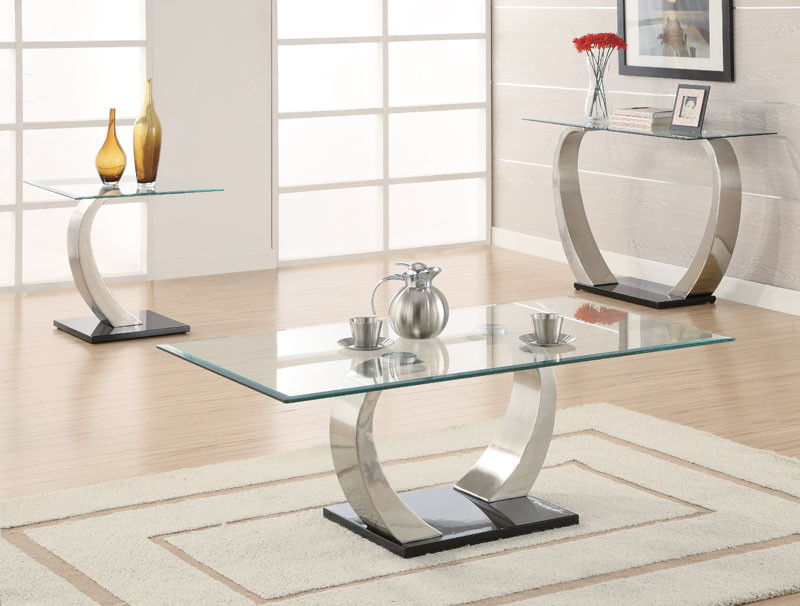 Contemporary Rectangular Glass Coffee Table - Eris Contemporary Rectangular Glass Coffee Table Sofa End Sets