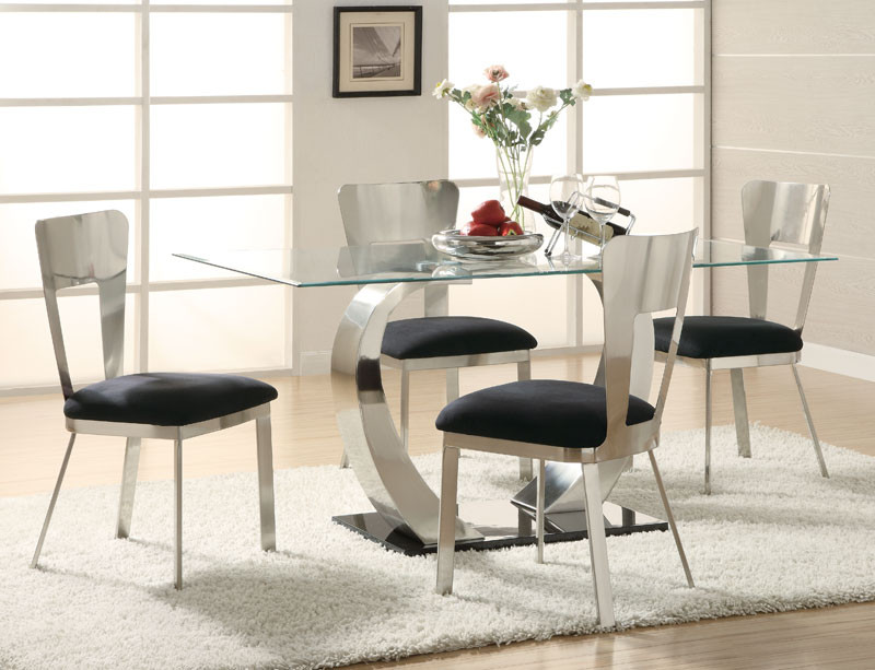 S Chrome Glass And Steel Circular Dining Table And Chairs