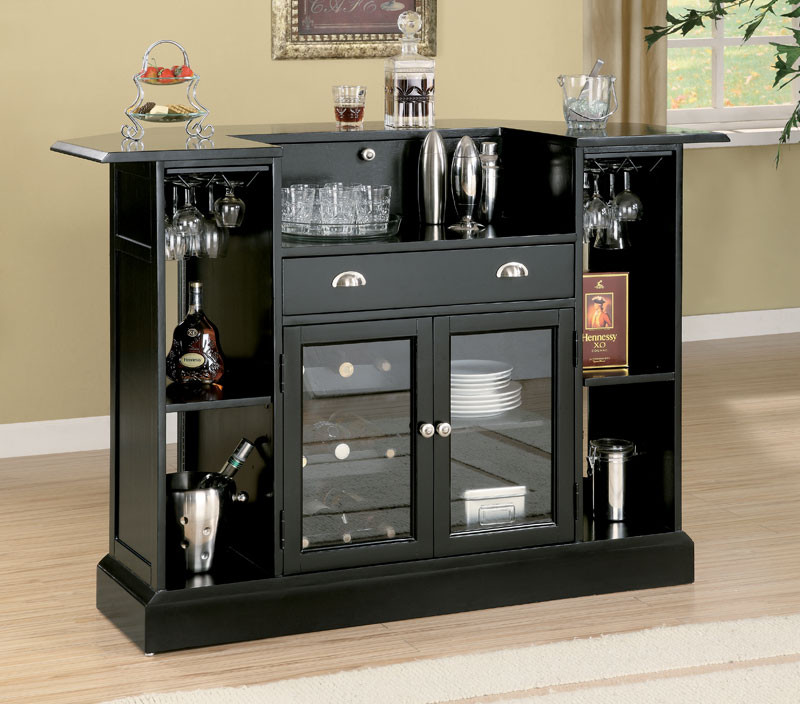 Anavia Modern Black Home Bar Counter; Image 2