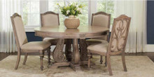 "60"" Round Vintage Antique Linen Wood Dining Table Set 