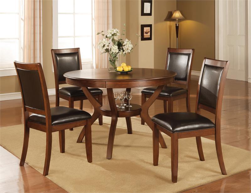 "48"" crawley round walnut dining table w/ chairs"