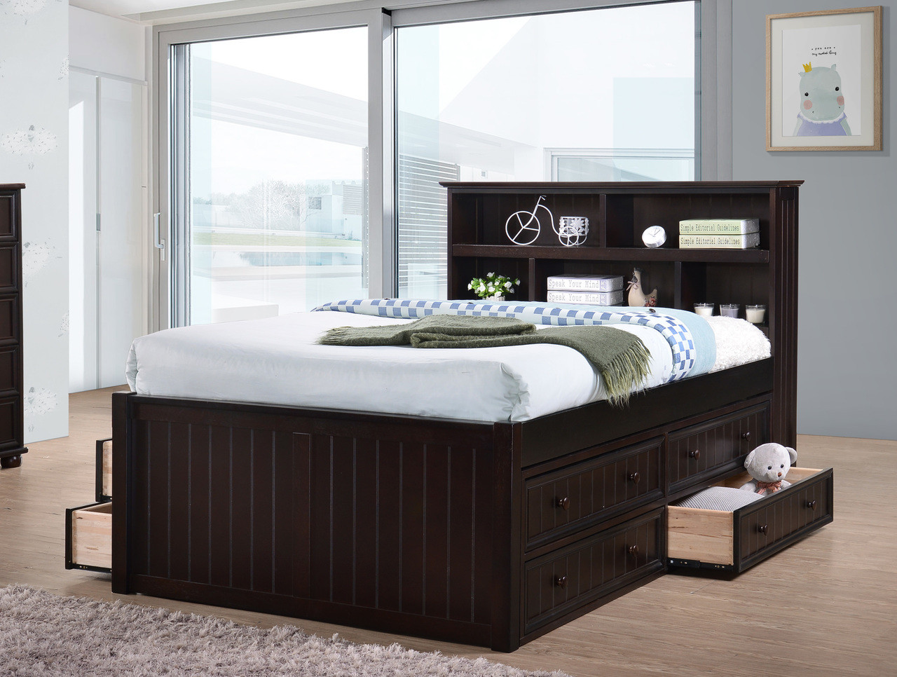 dillon wood bead board full size captains bed. Black Bedroom Furniture Sets. Home Design Ideas